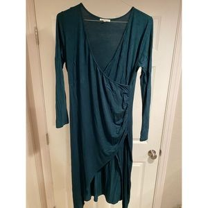 NWOT Long Sleeve Faux Wrap Midi Dress with Slit